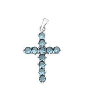 Серебряный крестик с лондонским топазом кварц – Mirserebra925.ru