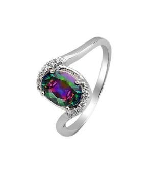 Серебряное кольцо с мистик кварцем ‒ Mirserebra925.ru