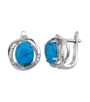 Серебряные серьги с бирюзой ‒ Mirserebra925.ru
