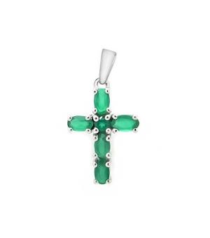 Серебряный крестик с зеленым агатом – Mirserebra925.ru