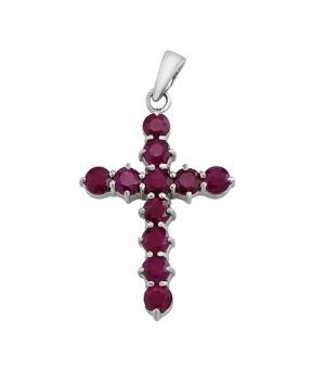 Серебряный крестик с рубинами – Mirserebra925.ru