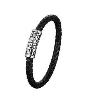 Мужской браслет из кожи с магнитной застежкой ‒ Mirserebra925.ru