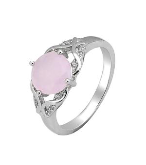 Серебряное кольцо с розовым кварцем – Mirserebra925.ru