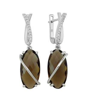 Серебряные серьги с раухтопазом – Mirserebra925.ru