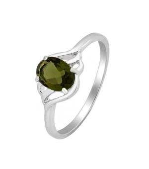 Серебряное кольцо с оливковой шпинелью – Mirserebra925.ru