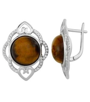 Серебряные серьги с тигровым глазом – Mirserebra925.ru