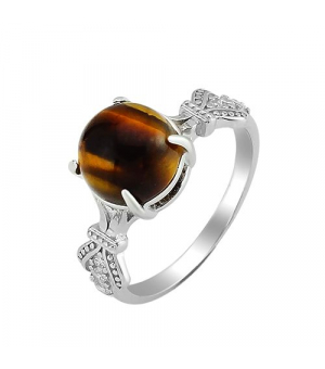 Серебряное кольцо с тигровым глазом – Mirserebra925.ru