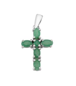 Крест из серебра с изумрудом – Mirserebra925.ru