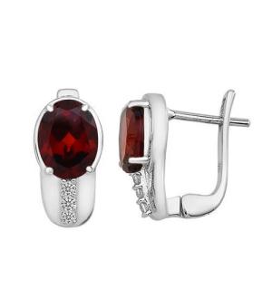 Серебряные серьги с гранатом – Mirserebra925.ru