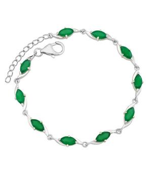 Серебряный браслет с зеленым агатом ‒ Mirserebra925.ru