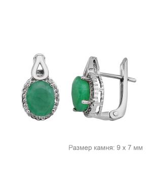 Серебряные серьги с изумрудом – Mirserebra925.ru