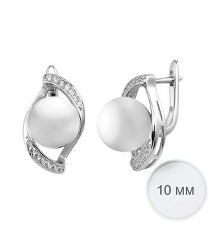 Серебряные серьги с жемчугом ‒ Mirserebra925.ru