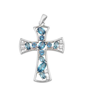 Серебряный крестик с лондонским топазом – Mirserebra925.ru