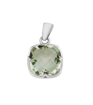 Серебряная подвеска с зеленым аметистом – Mirserebra925.ru