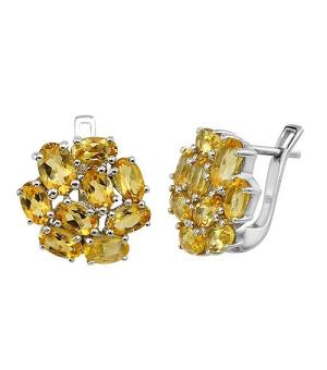 Серебряные серьги с цитрином – Mirserebra925.ru