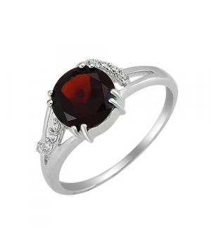 Серебряное кольцо с гранатом – Mirserebra925.ru