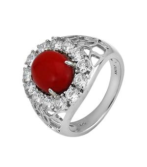 Серебряное кольцо с кораллом ‒ Mirserebra925.ru