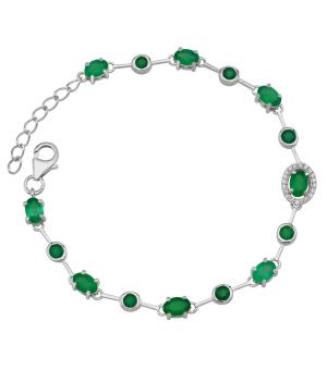 Серебряный браслет с зеленым агатом – Mirserebra925.ru