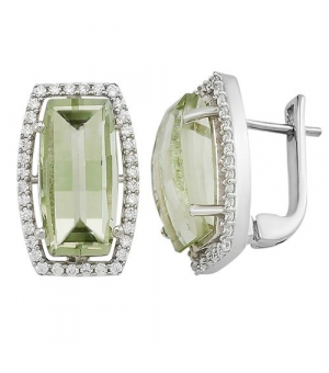 Серебряные серьги с зеленым аметистом – Mirserebra925.ru