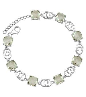 Серебряный браслет с зеленым аметистом – Mirserebra925.ru