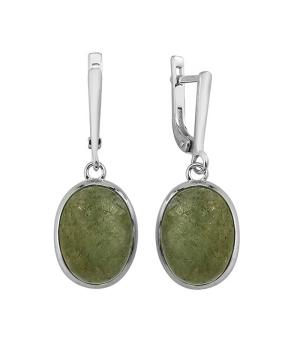 Серебряные серьги с лабрадоритом ‒ Mirserebra925.ru