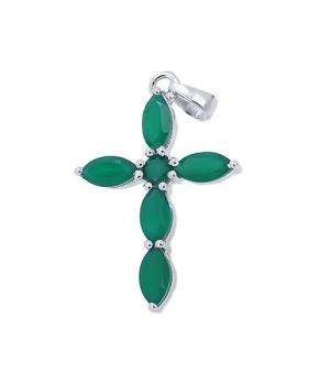 Серебряный крестик с зеленым агатом ‒ Mirserebra925.ru