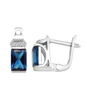 Серебряные серьги с лондон топазом кварц ‒ Mirserebra925.ru