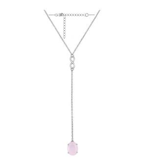 Серебряное колье с розовым кварцем – Mirserebra925.ru