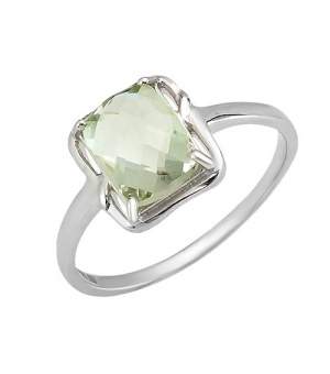 Серебряное кольцо с зеленым аметистом – Mirserebra925.ru