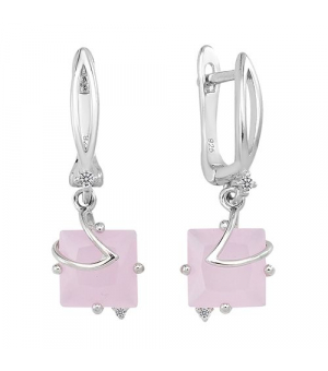 Серебряные серьги с розовым кварцем – Mirserebra925.ru
