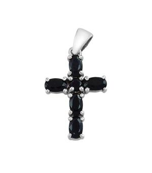 Серебряный крестик с сапфиром – Mirserebra925.ru