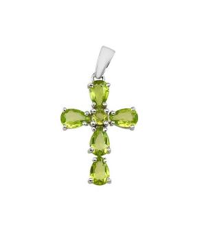 Серебряный крестик с хризолитом – Mirserebra925.ru