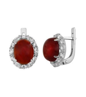 Серебряные серьги с сердоликом ‒ Mirserebra925.ru