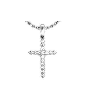 Серебряный крестик с цирконом – Mirserebra925.ru