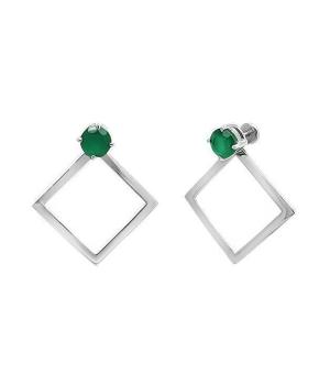 Серебряные серьги с зеленым агатом ‒ Mirserebra925.ru
