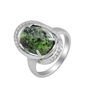 Серебряное кольцо с цоизитом ‒ Mirserebra925.ru