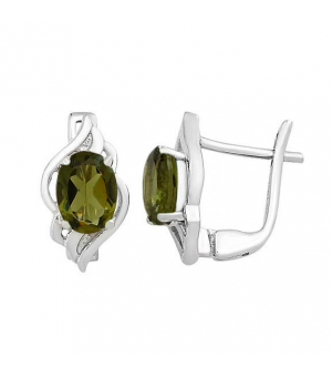 Серебряные серьги с оливковой шпинелью – Mirserebra925.ru