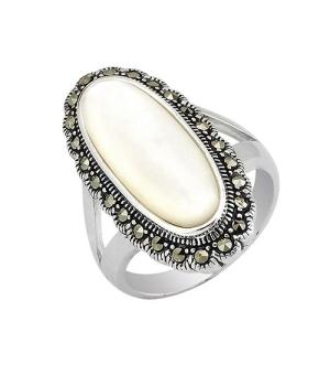 Серебряное кольцо с марказитом ‒ Mirserebra925.ru
